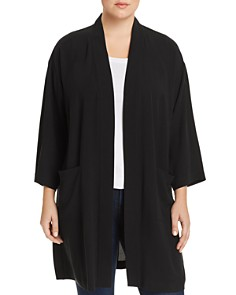 Eileen Fisher Plus - Silk Long Open Jacket