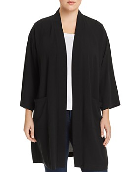 54d5612d74a Eileen Fisher Plus - Silk Long Open Jacket ...