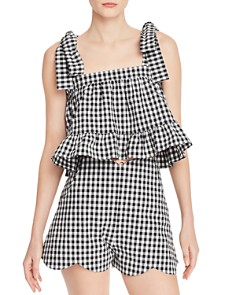 Paper London - Emely Gingham Ruffled Crop Top