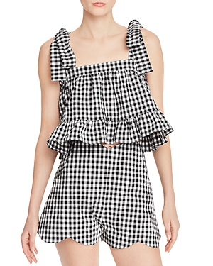 Paper London Tops EMELY GINGHAM RUFFLED CROP TOP