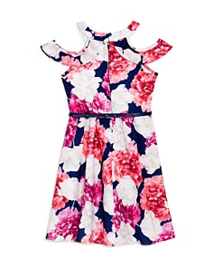 US Angels - Girls' Floral Print Cold-Shoulder Dress - Little Kid