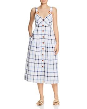 Red Carter - Grid-Print Midi Dress