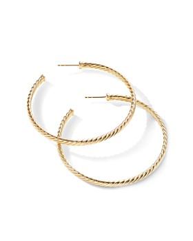David Yurman - 18K Yellow Gold Large Cable Spiral Hoop Earrings