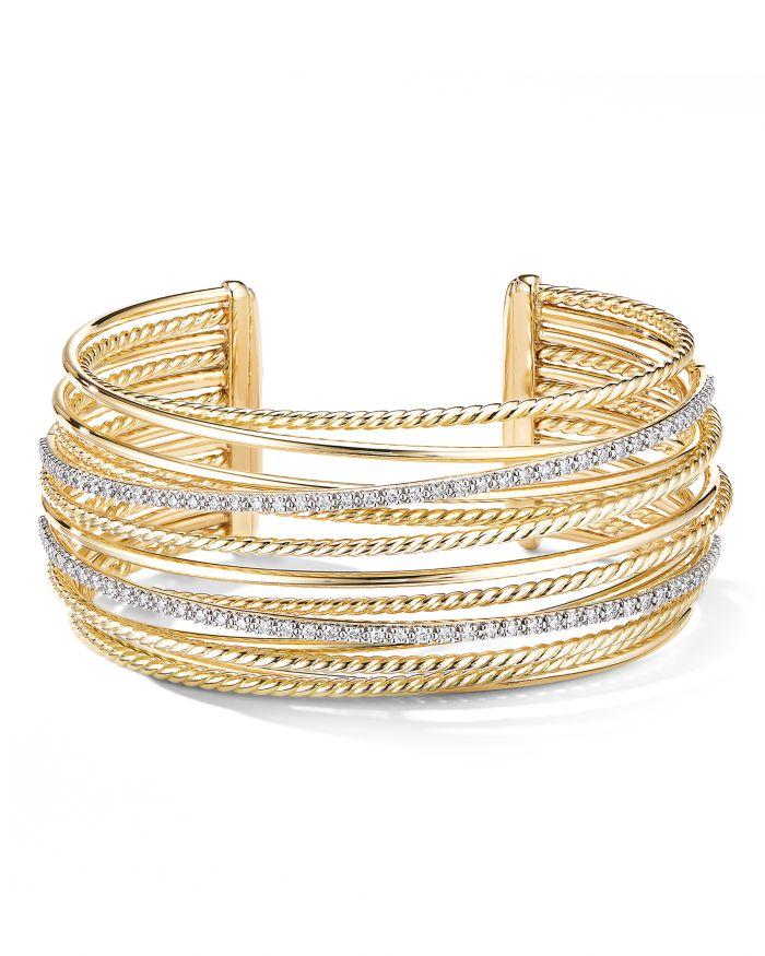 David Yurman 18K Yellow Gold Crossover Cuff Bracelet with Diamonds    Bloomingdale's