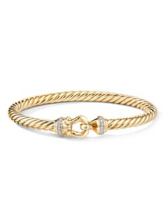 David Yurman - 18K Yellow Gold Cable Buckle Bracelet with Diamonds