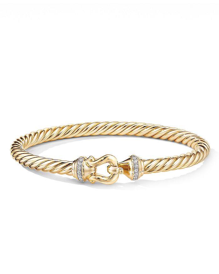 David Yurman - 18K Yellow Gold Cable Buckle Bracelet with Diamonds