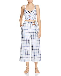 Red Carter - Grid-Print Wide-Leg Cropped Pants