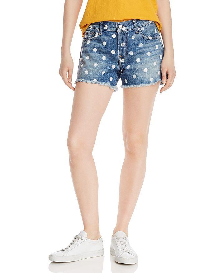 7 For All Mankind High-Rise Polka Dot Cutoff Denim Shorts in Ridgemont Vintage