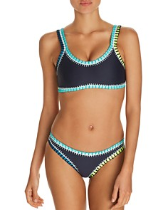 Platinum inspired by Solange Ferrarini - Color-Block Whipstitched Bralette Bikini Top & Color-Block Whipstitched Scoop Bikini Bottom - 100% Exclusive