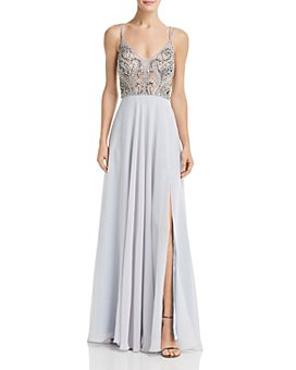 AQUA - Embellished Chiffon Gown - 100% Exclusive