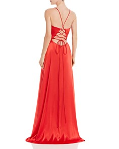 AQUA - Plunging Charmeuse Gown - 100% Exclusive
