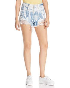 BLANKNYC - The Barrow Distressed Tie-Dye Denim Shorts in Spin Art