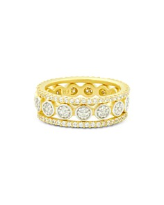 Freida Rothman - Fleur Bloom Empire Stackable Rings in 14K Gold-Plated & Rhodium-Plated Sterling Silver, Set of 3