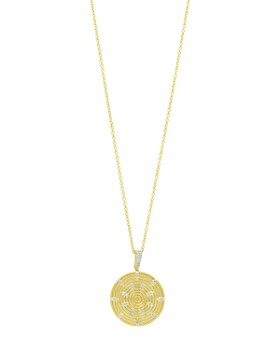 """Freida Rothman - Fleur Bloom Empire Round Pendant Necklace in 14K Gold-Plated & Rhodium-Plated Sterling Silver, 30"""""""