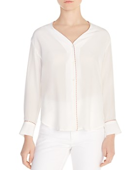 Sandro - Paul Piped Silk V-Neck Blouse
