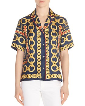 fdf785e369b341 Sandro - Mathias Chain-Print Silk Shirt ...