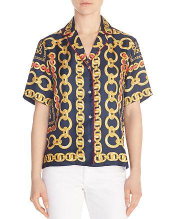 Sandro - Mathias Chain-Print Silk Shirt