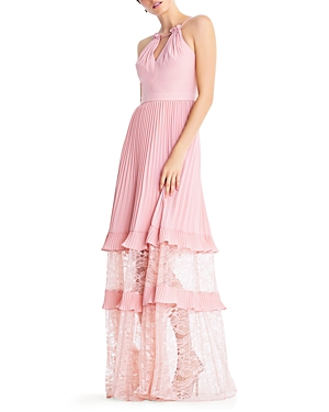 Aidan by Aidan Mattox Pleated Illusion Gown
