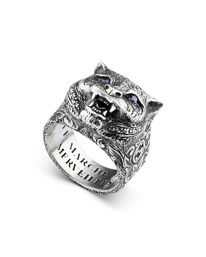 a3cd371d2e21 Gucci Sterling Silver Gucci Garden Anger Forest Wolf Head Ring ...