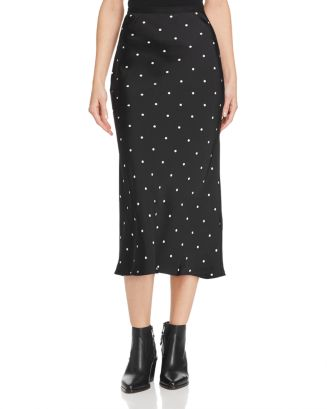 Bar Polka Dot Printed Silk Skirt by Anine Bing