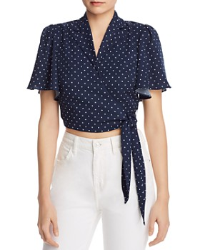 leRumi - Audrey Polka-Dot Cropped Wrap Top