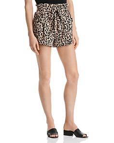AQUA - Paperbag-Waist Leopard Print Shorts - 100% Exclusive
