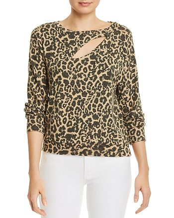 LNA - Brushed Phased Leopard-Print Sweater
