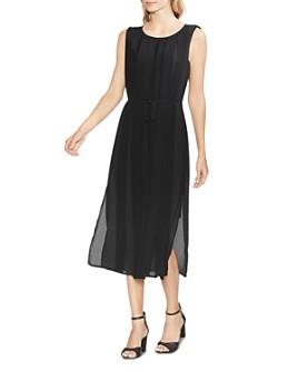 VINCE CAMUTO - Sleeveless Pleated-Overlay Dress