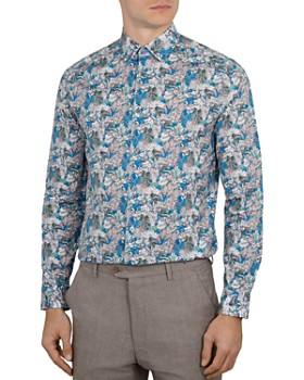 85ebbf177 Ted Baker - Tropica Leaf Print Phormal Slim Fit Shirt ...