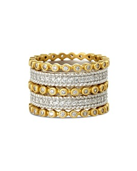 Freida Rothman - Classic Stacking Rings in Gold-Plated & Rhodium-Plated Sterling Silver, Set of 5