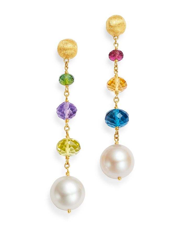 be1f39aa8ed 18K Yellow Gold Africa Gemstone Pearl & Gemstone Drop Earrings