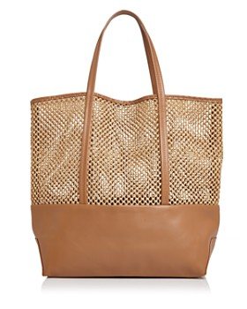 8dca31999 LOYALLIST SAVINGS: DISCOUNT APPLIED IN BAG. Alice.D - Large Leather &  Raffia Tote