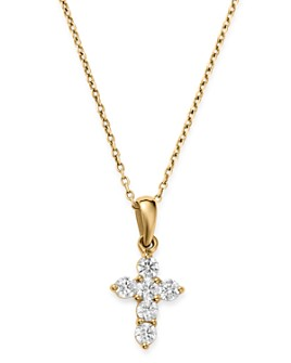 Bloomingdale's - Diamond Mini Cross Pendant Necklace in 14K Yellow Gold, 0.25 ct. t.w. - 100% Exclusive