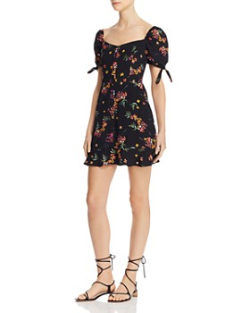 Olivaceous - Floral Puff-Sleeve Dress
