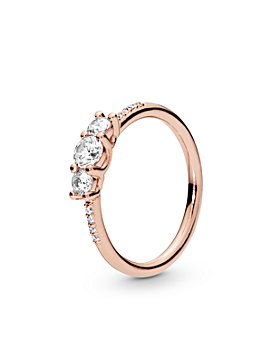 Pandora - Rose Gold Tone-Plated Sterling Silver & Cublc Zirconia Ring