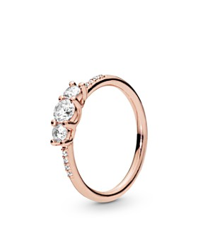 9323fb053 Pandora - Rose Gold Tone-Plated Sterling Silver & Cublc Zirconia Ring ...