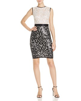Tadashi Petites - Color-Blocked Sequin Sheath Dress