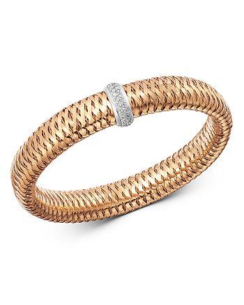 Roberto Coin - 18K Rose & White Gold Primavera Large Diamond Flexible Bangle Bracelet
