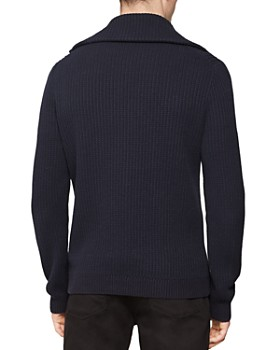 REISS - Harding Ribbed Zip-Front Sweater