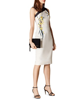KAREN MILLEN - Asymmetric Embroidered Sheath Dress