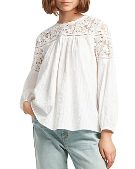 033803ab FRENCH CONNECTION - Coletta Lace-Inset Cotton Blouse ...