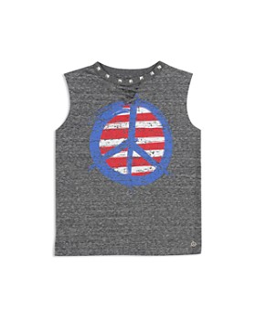ba58b3c5f Butter - Girls  Studded Lace-Up Peace Sign Tank - Little Kid