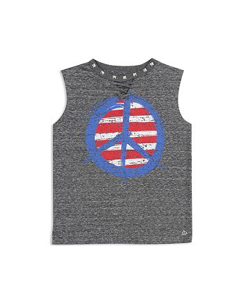 Butter - Girls' Studded Lace-Up Peace Sign Tank - Little Kid, Big Kid