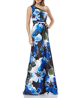 Carmen Marc Valvo Infusion - One-Shoulder Floral Printed Gown