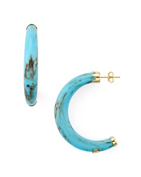 Argento Vivo - Resin Horn Hoop Earrings in 14K Gold-Plated Sterling Silver