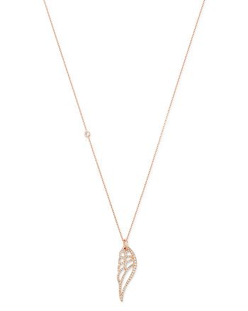 """OWN YOUR STORY - 14K Rose Gold Nature Pavé Angel Wing Pendant Necklace, 18"""""""
