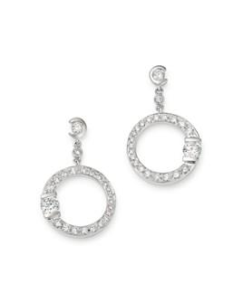 Roberto Coin - 18K White Gold Small Pavé Diamond Signature Drop Earrings