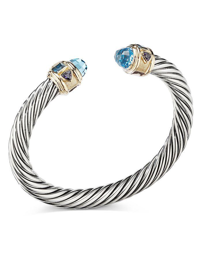 David Yurman - Sterling Silver & 14K Yellow Gold Renaissance Bracelet with Blue Topaz