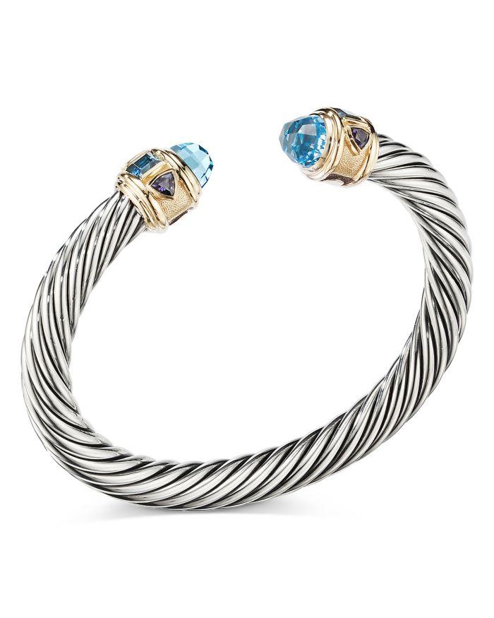 David Yurman Sterling Silver & 14K Yellow Gold Renaissance Bracelet with Blue Topaz    Bloomingdale's