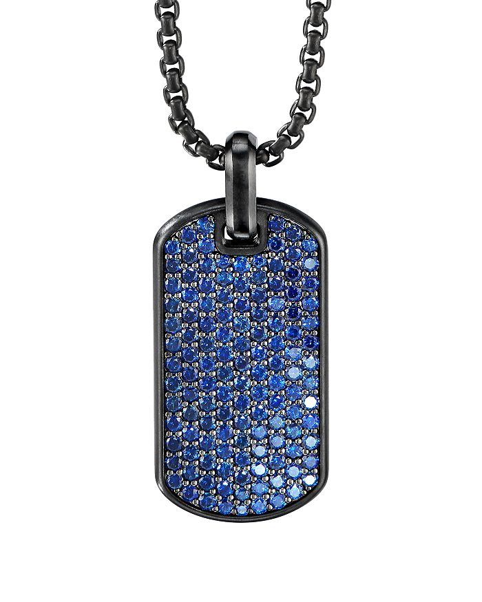 David Yurman - Black Titanium & Sterling Silver Pavé Streamline® Tag with Blue Saphhires